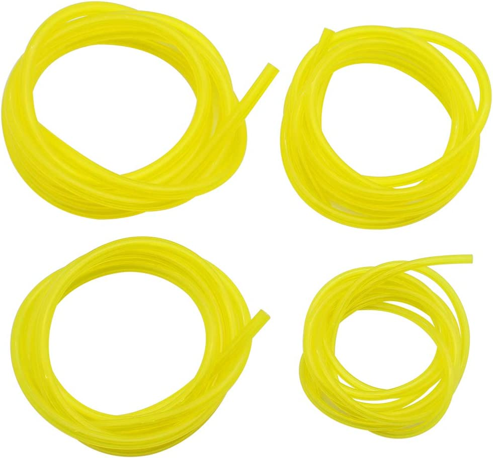 DXLing 4 Pieces Fuel Hose Pipe Petrol Hose Flexible Length 1.5 m Oil Hose Diesel Replacement Clear Tubing Carburetor Fuel Lines Yellow Transparent Tubing Accessories for Chainsaw Blower Outdoor