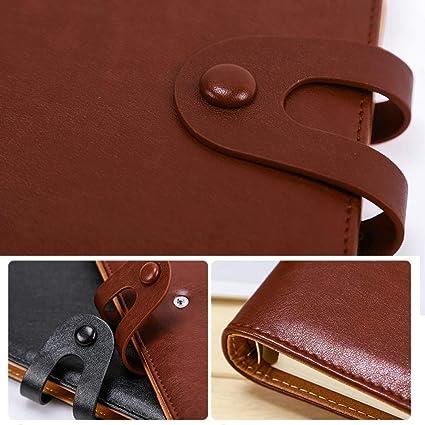 LIUCHEN@ CuadernoCuaderno de anillas cuaderno de cuero A5 ...