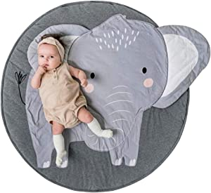 GABWE Kids Round Rug Cotton for Kids Floor Play Mats Room Decoration 35.4 Inches