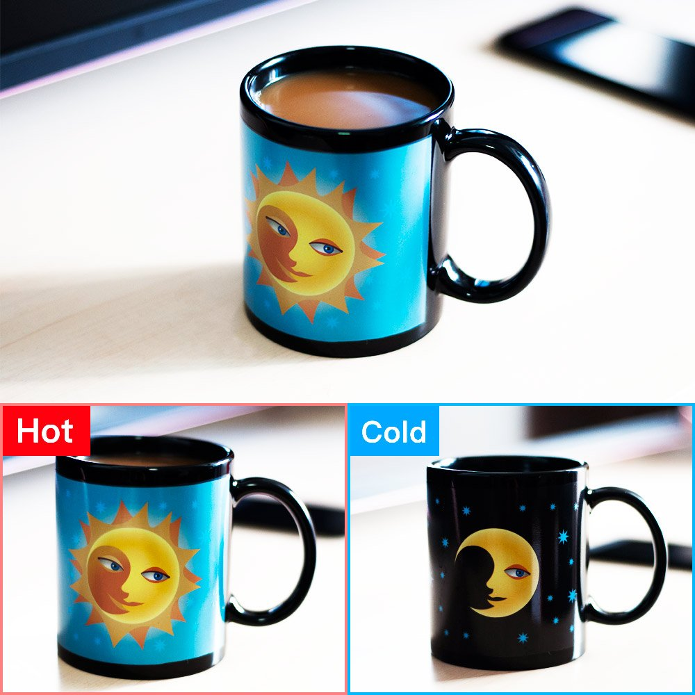 Amazon.com: Vopie Color Changing Thermometer Heat Changing Mug Magic  Sensitive Porcelain Coffee Cup   10 OZ (Moon): Toys U0026 Games