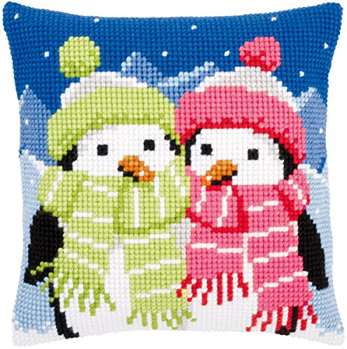 """Penguins With Scarf Cushion Cross Stitch Kit-16""""X16"""""""