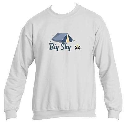 Big Sky Camping & Camp Fire - Montana Men's Crewneck Sweatshirt