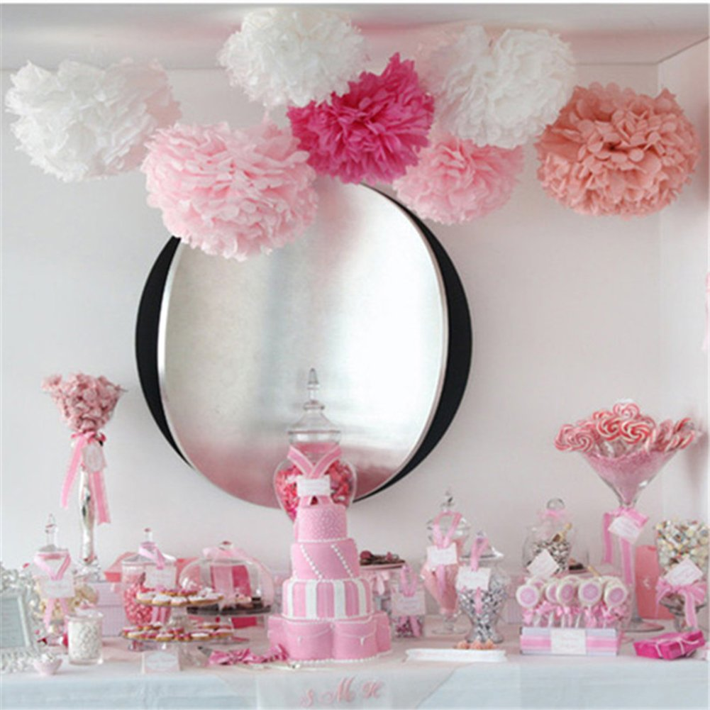 Tissue Paper Pom Pom Flowers Baby Shower Birthday Wedding Party Decorations 12 pcs Hanging Pom Poms,8'' 10'' Rose Pikn White by Jyukan (Image #3)