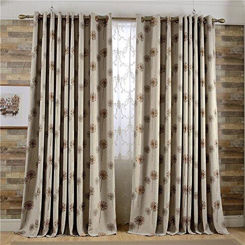 Leyden Grommet Top Classic Solid Brown Dandelion Pattern Jacquard Linen Curtains Curtain Drapes – 50Wx84 L Multi Size Customizable(One Panel) For Sale