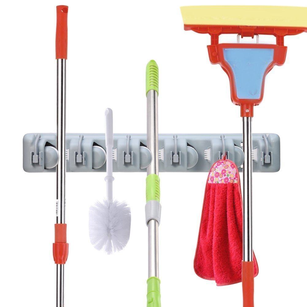 Renohef Broom Mop Holder Organizer,Automatically Lock Wall Mounted hanger with 5 Slots and 6 Hooks for Closet,Bathroom,Rakes,Garden,Sports Equipment,Garage Storage Broom Hook