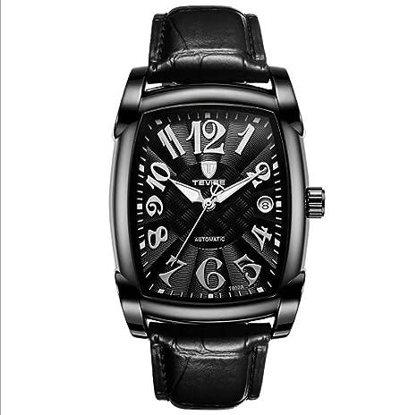 TEVISE Reloj para Hombre Reloj mecánico Cuadrado de Acero Inoxidable a Prueba de Agua Reloj mecánico