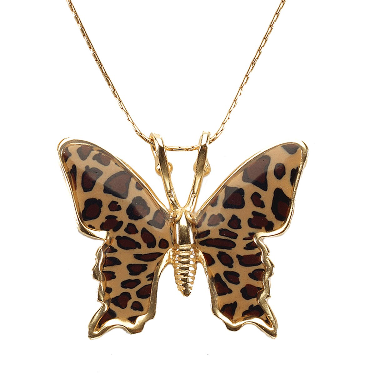 Gold Plated Sterling Silver Butterfly Necklace Pendant Leopard Print Polymer Clay Handmade Charm Jewelry, 16.5'' Gold Filled Chain