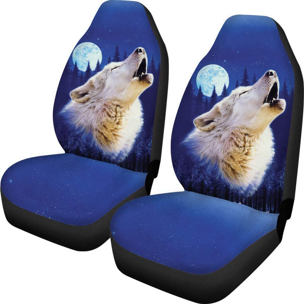 ELEQIN Cool Starry Sky Wolf Car Seat Cover Front Seats Only Full Set of 2 Vehicle Seat Protector Car Mat Covers