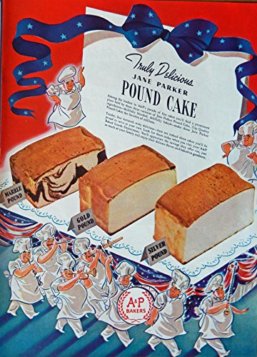 A&P Bakers, Print Ad. Full Page Color Illustration (Jane Parker Pound Cake) Original Vintage, 1940 Rare Woman's Day Magazine Art - Vintage Womans Day Magazine