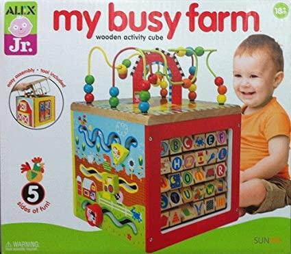 Alex Jr My Busy Farm Wooden Activity Cube Amazonca Electronics