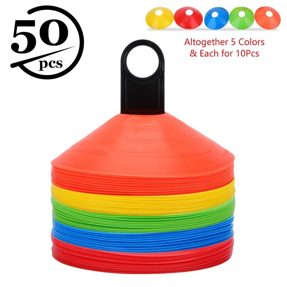 50pcs Coni da Allenamento per Attività Sportive, Coni Piatti Sportivo Multifunzione a Colori con Maniglia di Trasporto in Plastica per Calcio, Segnaposto VGEBY