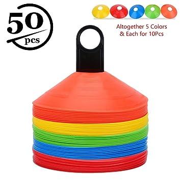 50pcs Conos de Entrenamiento de Fútbol Conos de Disco para Entrenamiento de  Agilidad con Bolsa de 388d07bd2c6f9