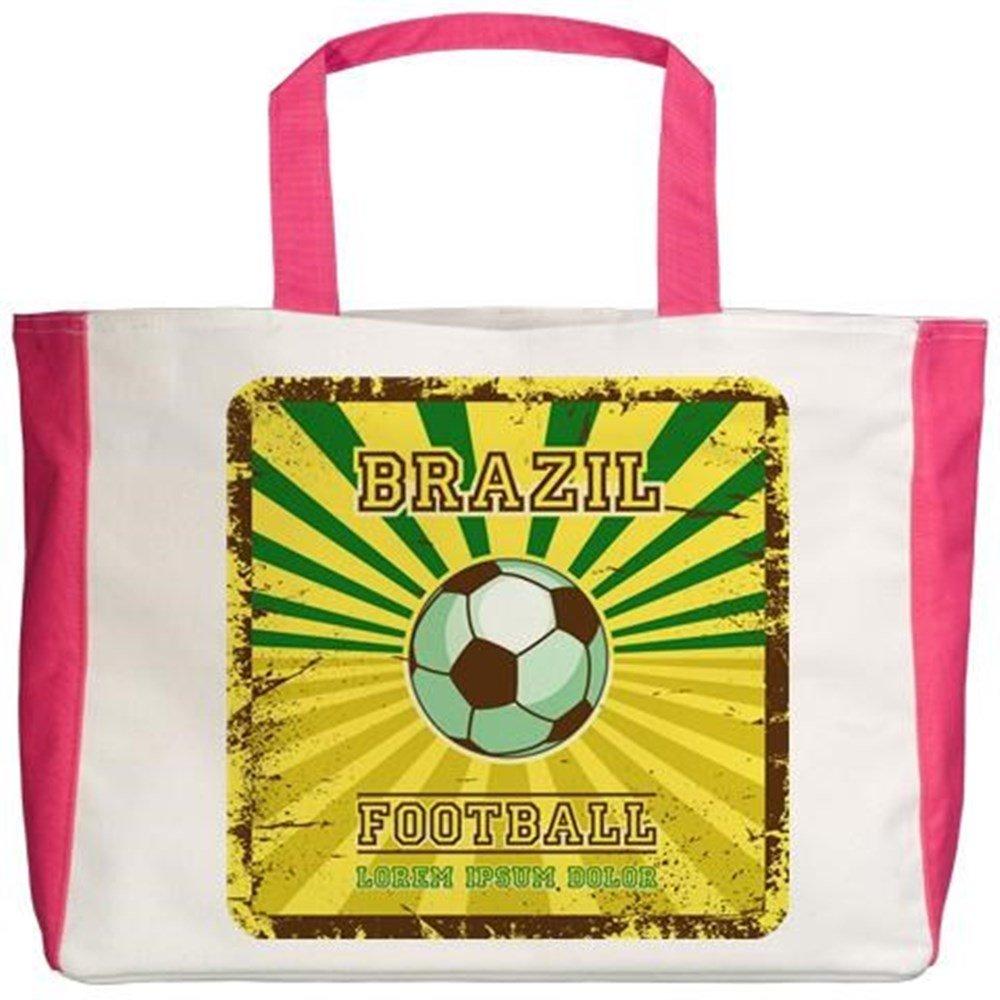 2-Sided Royal Lion Beach Tote Brazil Football Soccer Lorem Ipsum