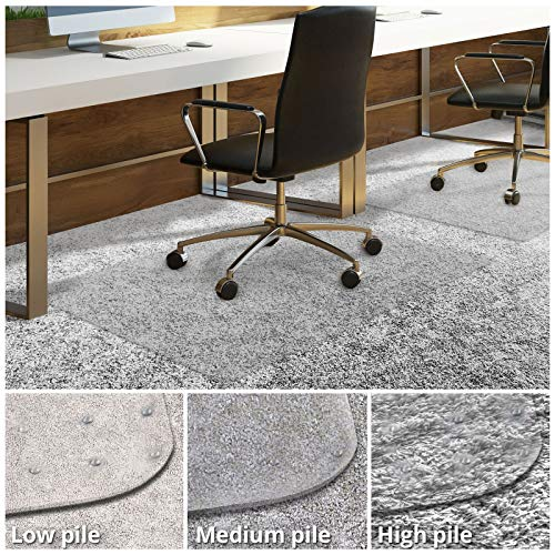 Office Chair Mat for Carpeted Floors | Desk Chair Mat for Carpet | Clear PVC Mat in Different Thicknesses and Sizes for Every Pile Type | High-Pile 36