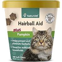 NaturVet – Hairball Aid Supplement for Cats - Plus Pumpkin – Helps Eliminate & Prevent Hairballs