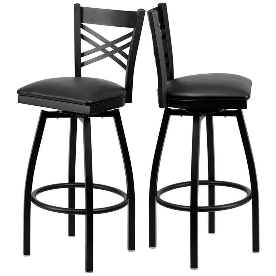 Modern Style Metal Dining Bar Stools Cross-Back Design 360-Degree Swivel Seat Lounge Diner Restaurant Commercial Black Powder Coated Frame Home Office Furniture - Set of 2 Black Vinyl Seat #2199