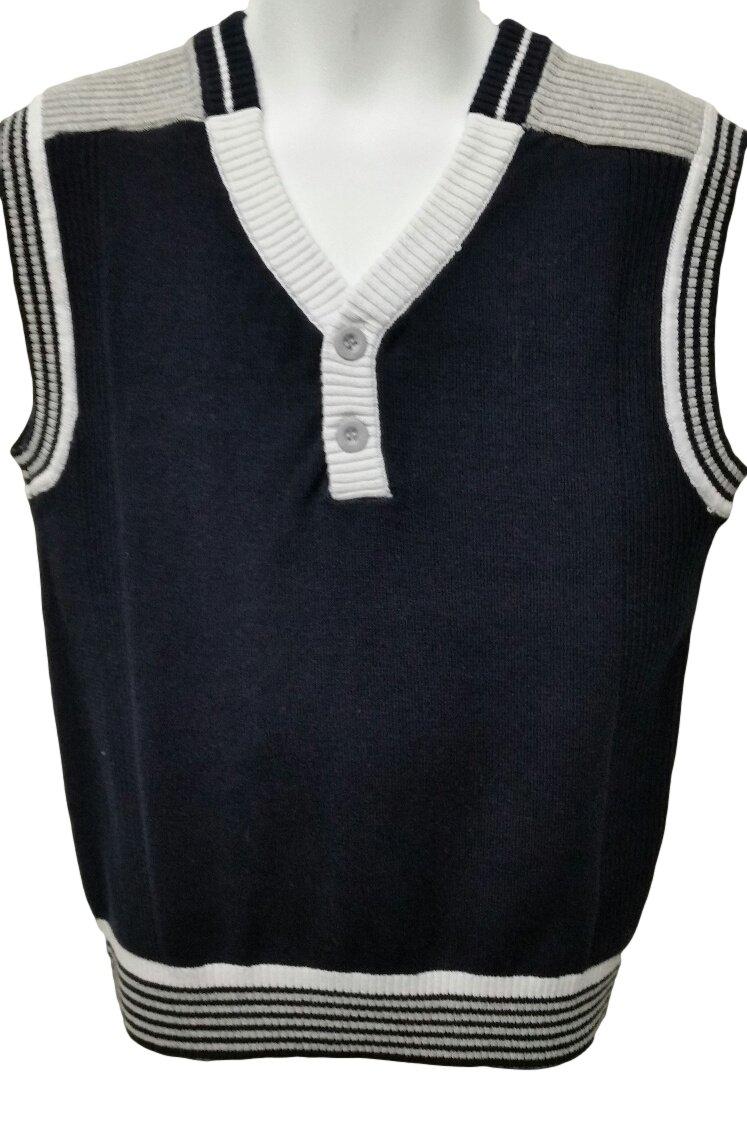 Viero Richi Boy's Sweater Vest 100% Cotton # 2243 (14, Navy Blue)
