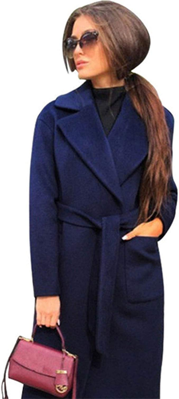 Colorful Dream Elegant Women Lapel Coat Jacket Solid Color Jackets Coats Female Clothing,Navy Blue,M