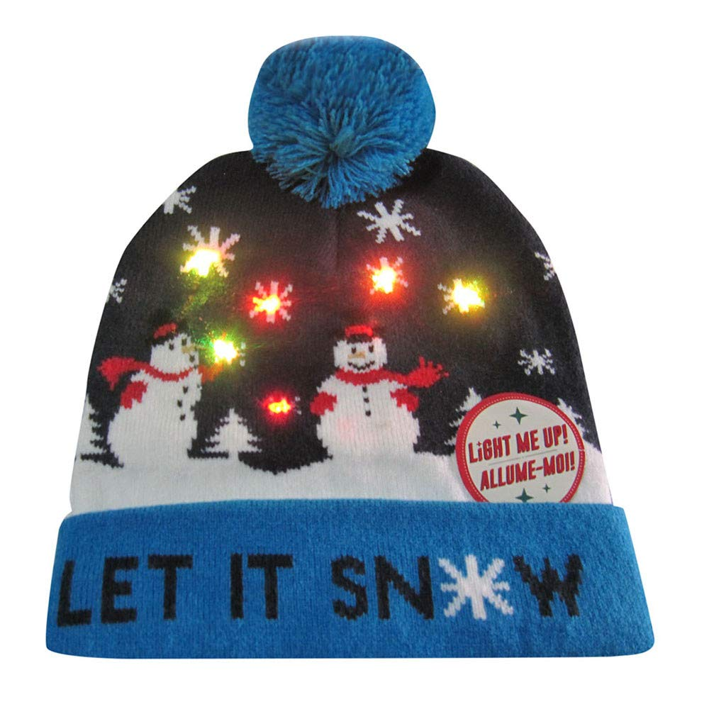 Allywit LED Light Up Hat Beanie Knit Cap Winter Snow Hat Sweater Ugly Holiday Hat Beanie Cap