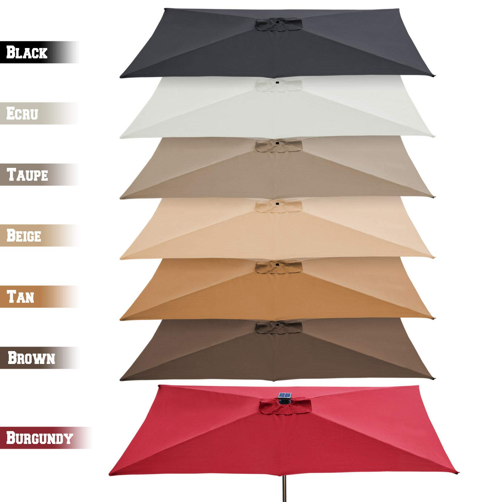 BenefitUSA 10'x6.5' Outdoor Patio Umbrella Replacement Canopy 6-Rib Parasol Top Cover (Taupe) by Benefit-USA