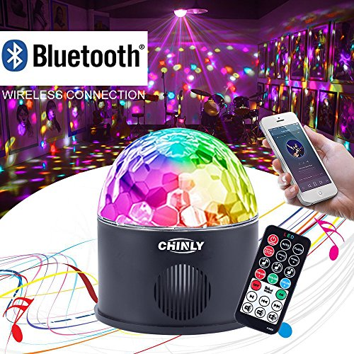 CHINLY LED Disco Ball Light MP3 Music Bluetooth Speaker USB Portable 9W 9color Modes Dance Hall Strobe Light Party Light for Wedding Party Festival Bar Club DJ KTV (with Remote)