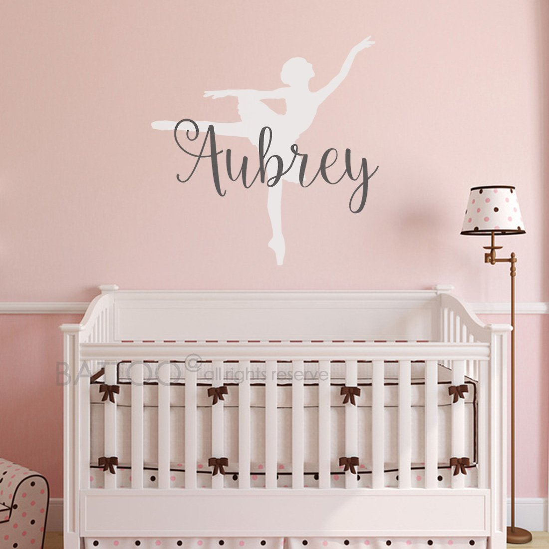 BATTOO Ballerina Name Wall Decal - Ballet Wall Decal - Personalized Nursery Wall Decal - Ballet - Girls Name Wall Decal - Custom Name Wall Decal - Dance Wall Decal