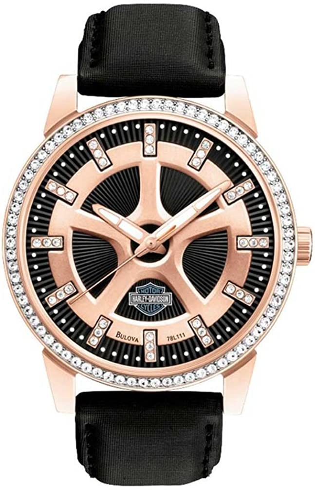 Harley-Davidson Women s Watch, Embellished Crystal Stones, Leather Band 78L111