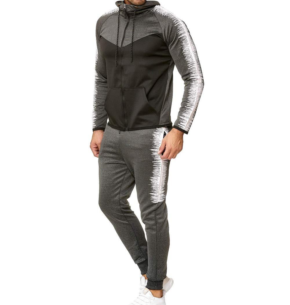 Men's Tracksuit Set Camouflage Sweatshirt Jogger Sweatpants Solid Patchwork Warm Sports Suit (Grey-Black, XXL) by lisenraIn