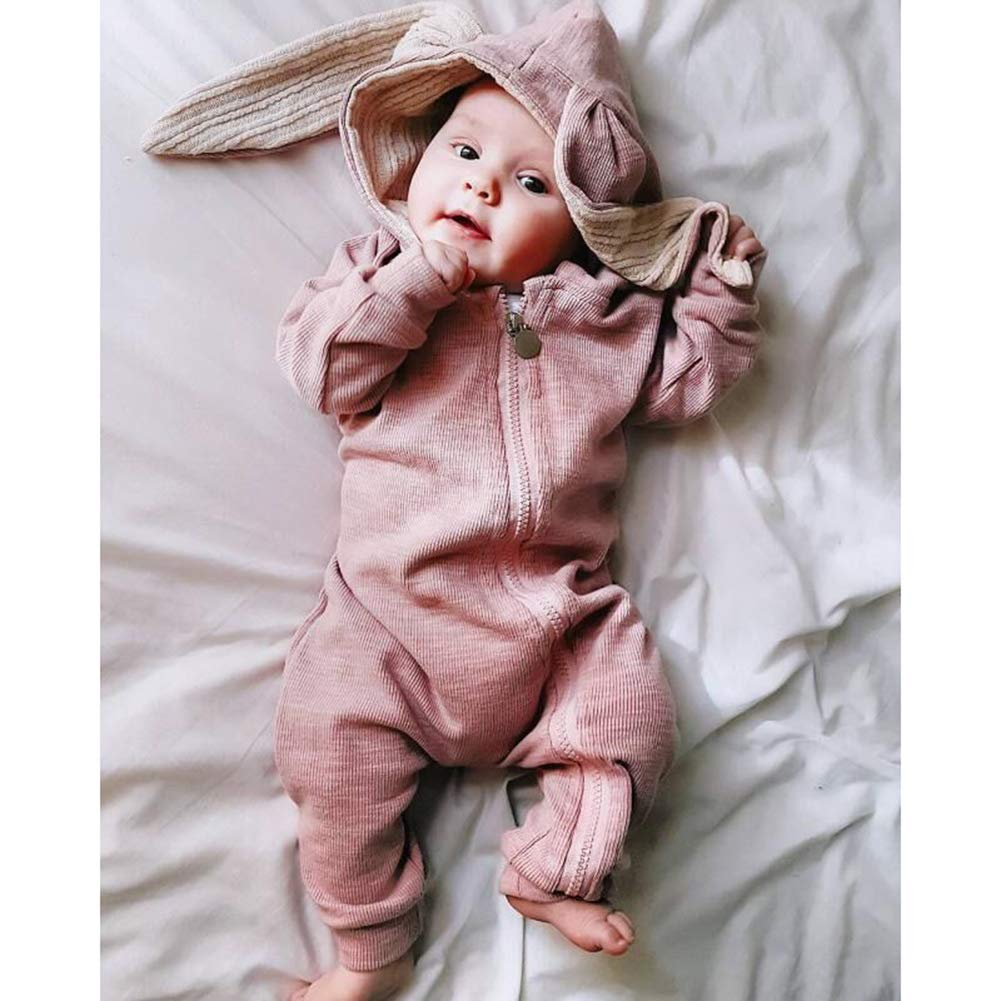 Leoie Newborn Baby Cute Jumpsuit with Rabbit Ears Lovely Hooded Cotton Romper