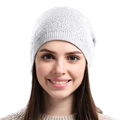 a95218e85bd IMISSU Women Knit Hat Wool Beanies Real Wool Skullies Hats for Girls (Light  Brown)  Amazon.co.uk  Clothing