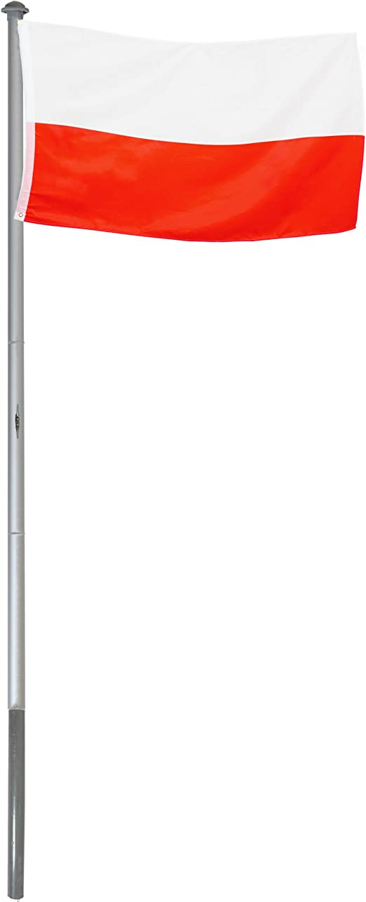 BRUBAKER Mástil Aluminio Exterior 6 m Incluye Bandera de Polonia 150 x 90 cm y Soporte de Tierra: Amazon.es: Jardín
