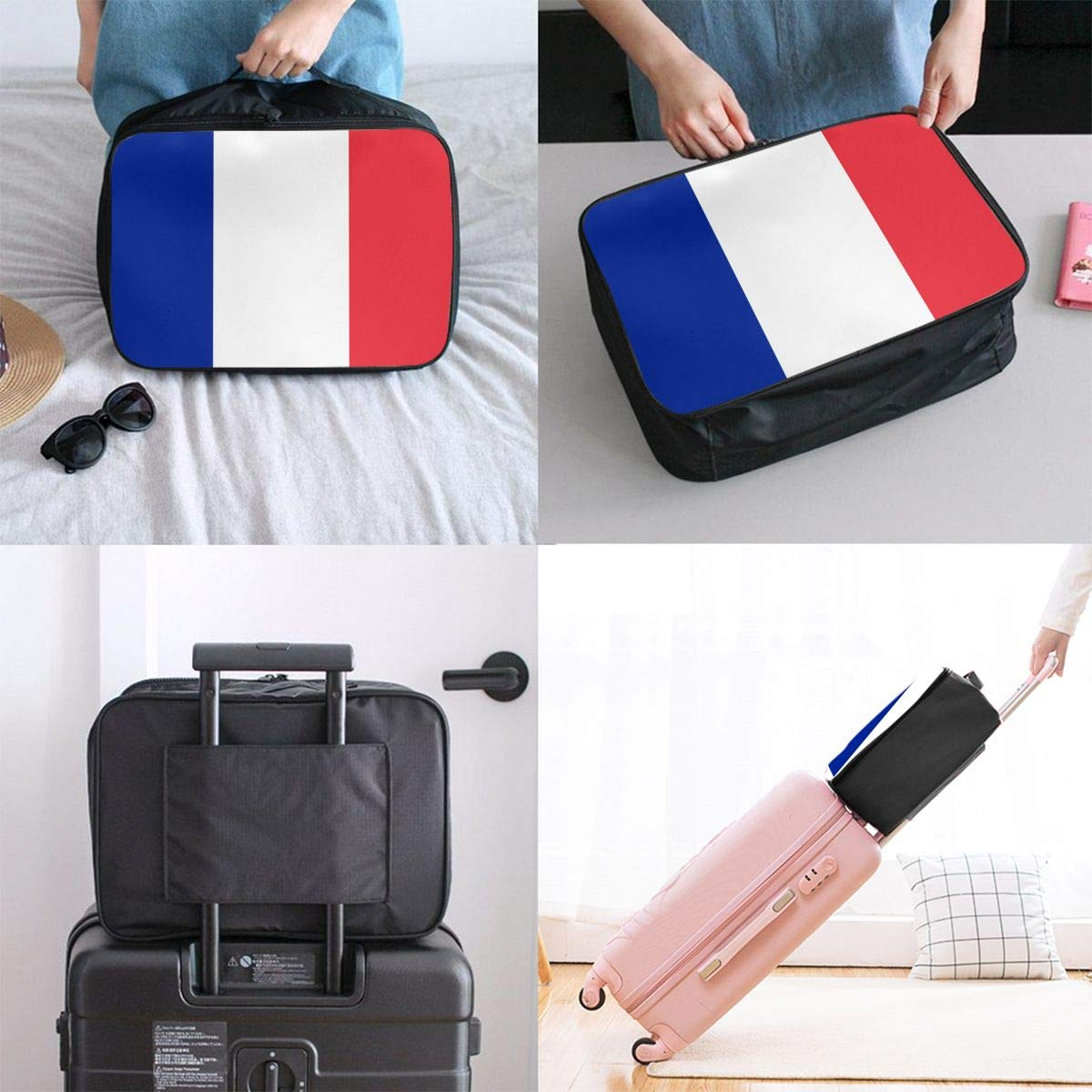YueLJB Flag France Lightweight Large Capacity Portable Luggage Bag Travel Duffel Bag Storage Carry Luggage Duffle Tote Bag