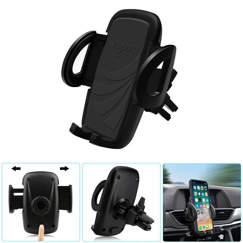 Phone Holder for Car Air Vent, Volport Car Mount Quick Easy Release Button and 360 Degree Rotation Cradle for Phone X 8 8 Plus 7 7 Plus SE 6s 6 Plus 6 5s Samsung Galaxy S9 8 6 LG Nexus Sony Huawei