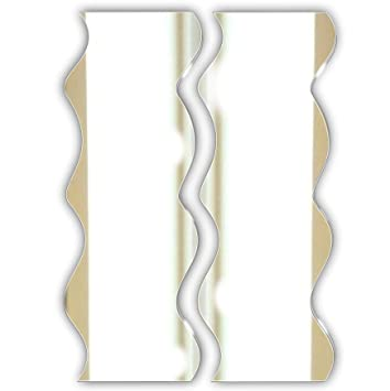 4 Pack Wavy Edged Glass Wall Mounted Bathroom Hallway Bedroom Mirror Tiles Screw