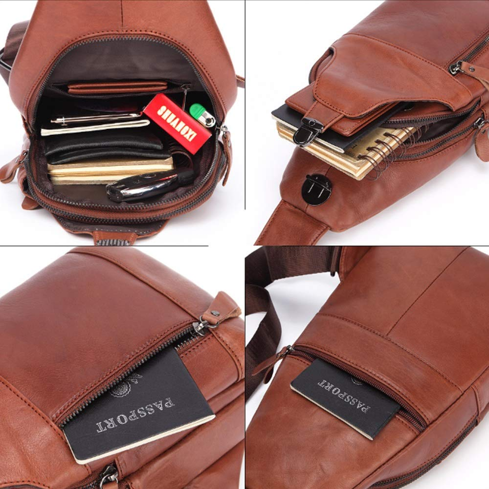 XIAOF-FEN Mens Casual Handmade Messenger Bag Leather Shoulder Bag Oil Wax Leather Chest Bag Men Bags Color : Brown, Size : M