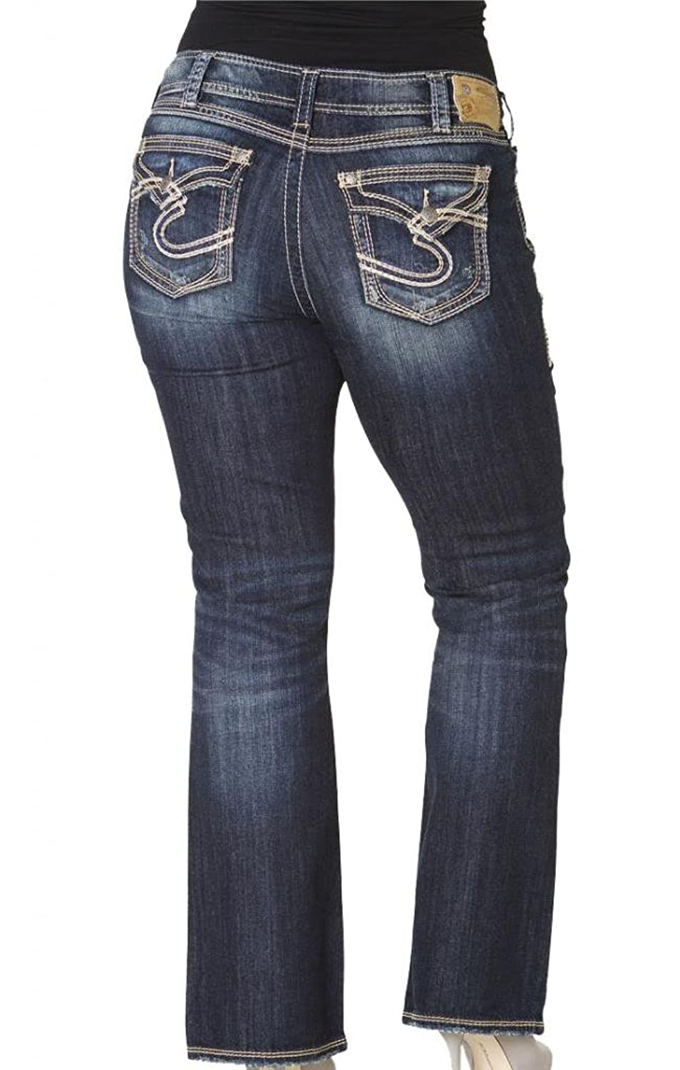 Silver Jeans Women's Plus Bootcut Suki SurPlus Flap S Logo Back Pockets Jeans