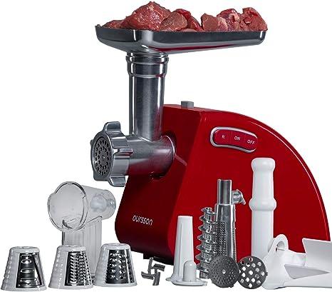 Oursson Picadora de carne eléctrica y embutidora de salchichas, accesorio para trocear, picar y cortar, 1500 Vatios, reverse, rojo, MG5530/RD: Amazon.es: Hogar
