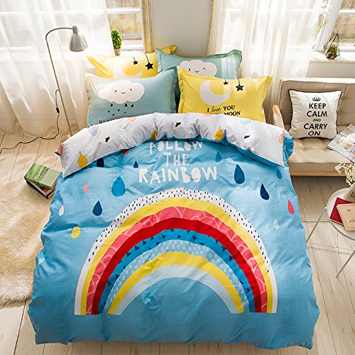 WarmGo Home Textile Bedding Sets for Adult Kids Rainbow Pattern Duvet Cover Sets 4 Piece-Include 2 Personality Pillowcase( Full/Queen Size) without Comforter by WarmGo