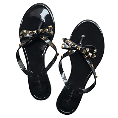 34b28cfc heipeiwa Womens Flip Flops Bow Jelly Sandals Dress Summer Beach Shoes Thong  Slippers