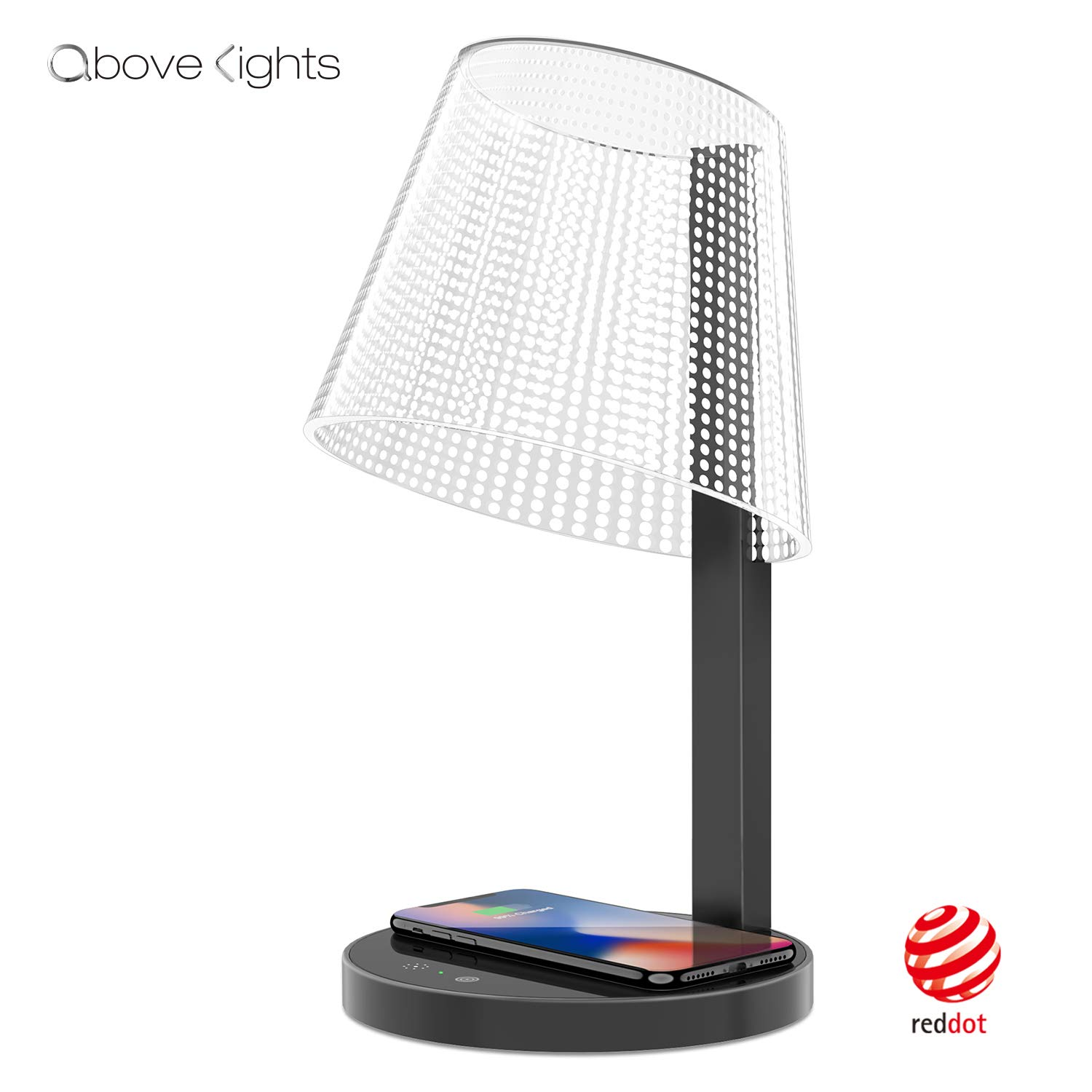 LED Table Lamp, Above Lights 7W Office Dimmable Desk Light with 10W Wireless Charger, Infrared Switch, Hidden Light Source, 5 Colors & Brightness, and USB Charging Port- Reddot Design Award