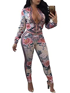 552aa56ac5f0 Women s 2 Pieces Outfits Casual Floral Long Sleeve Pants Tracksuits  Jumpsuits
