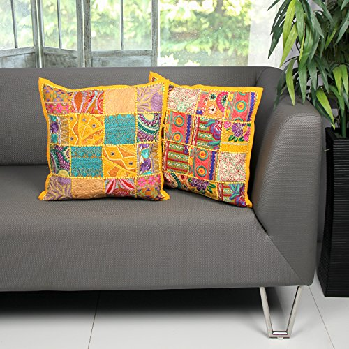 Aheli Set of 2 Cushion Covers for Sofa (16 x 16) Throw Pillow Cases Decorated with Indian Patchwork Embroidery Sequins Home Office Decor (Yellow)