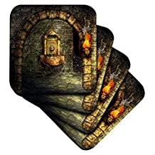 3dRose A Medieval Room Features an Enchanted Fountain As a Torch Burns Nearby - Soft Coasters, Set of 8 (cst_11908_2)