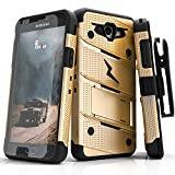 Fly USA Samsung Galaxy J3 Emerge Case, Zizo [Bolt Series] w/ [Galaxy J3 Emerge Screen Protector] Kickstand [12 ft. Drop Tested] Galaxy J3 Prime / Amp Prime 2