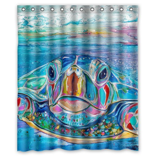 Waterproof Sea Turtle Shower Curtain Friendly Sea Turtle