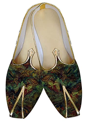 Mens Green Wedding Shoes Paisley Pattern MJ015605