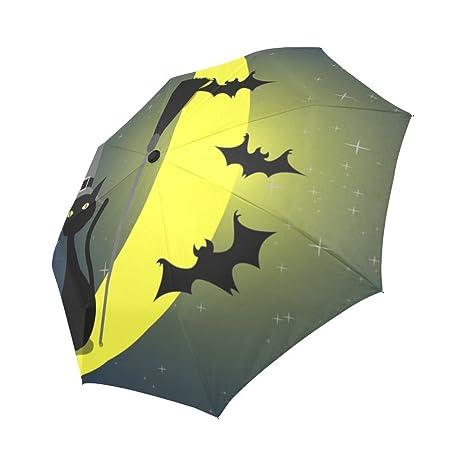 7a8a4c4d4cc2 Amazon.com: InterestPrint Umbrella Halloween Black Cat and Bats ...