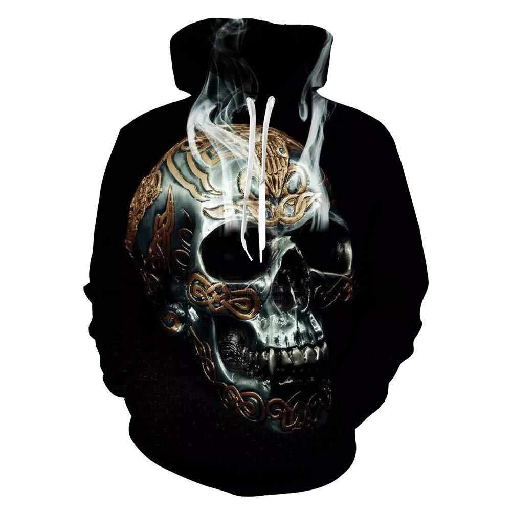 FuweiEncore Men's Hoodies, Herbst hässliche Weihnachten 3D Skull Prints Pullover Jumper Breathable Hoodies Gemustert Sweatshirts für Herren (Farbe   1, Größe   XXL) (Farbe   1, Größe   XXXL)