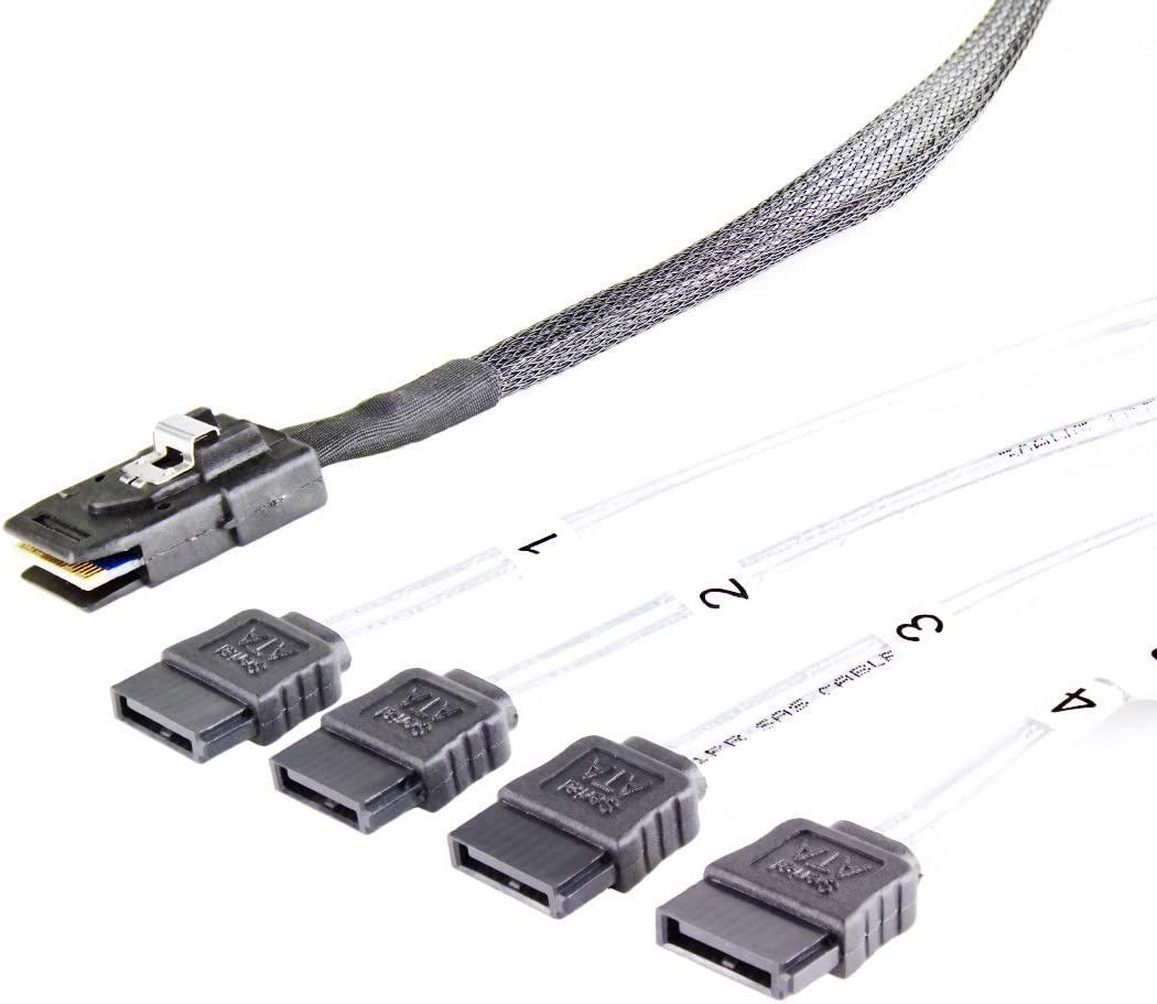SAS SFF8087 zu 4X SATA, 6Gbits//s pro Anschluss, f/ür Servergeh/äuse der SRC-Reihe FANTEC SRC-Mini SAS zu 4X SATA Kabel