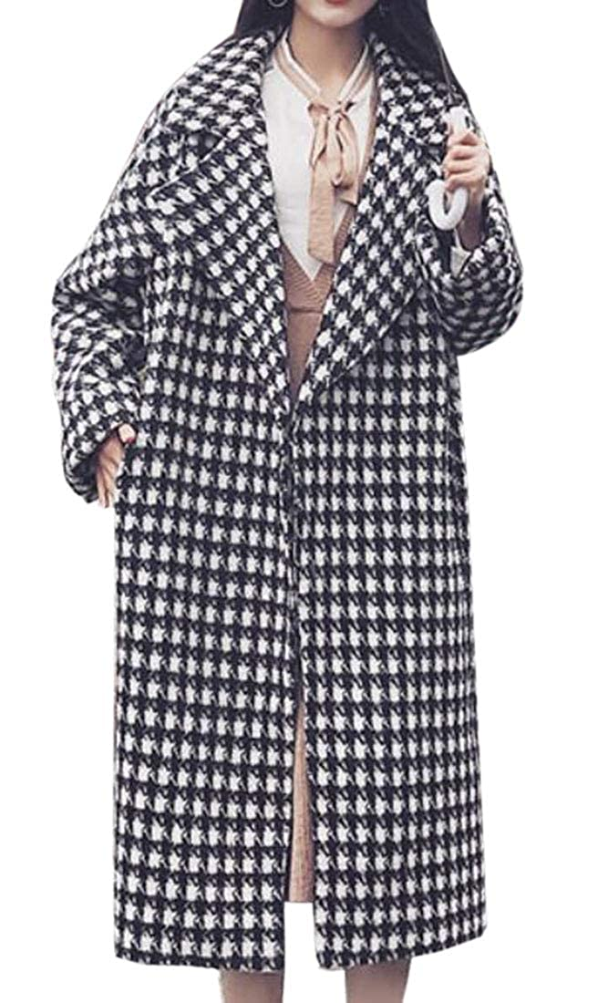 UNINUKOO Unko Womens Retro Plaid Houndstooth Wool Trench Jackes Overcoat Outwear